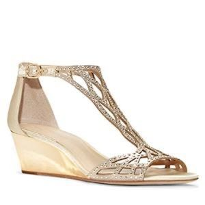 Vince Camuto soft gold wedge
